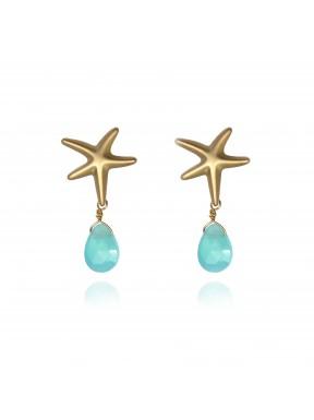Pendientes estrella de mar y gemas