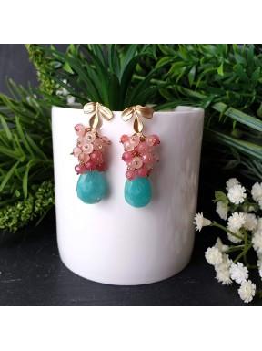 Pendiente de racimo con Amazonita y jade color coral