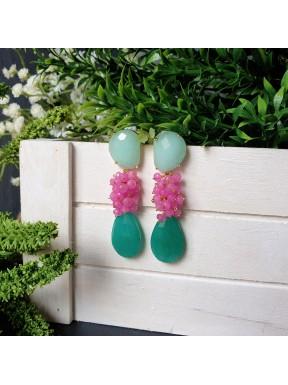 Pendiente de racimo con base en forma de lágrima de jade verde claro y jade rosa y verde turquesa