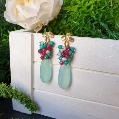 Pendientes de calcedonia aqua, jade, larimar y turquesas