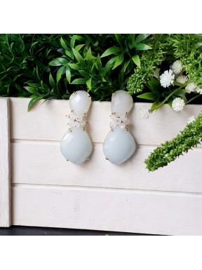 Pendientes de racimo con jade y piedra luna