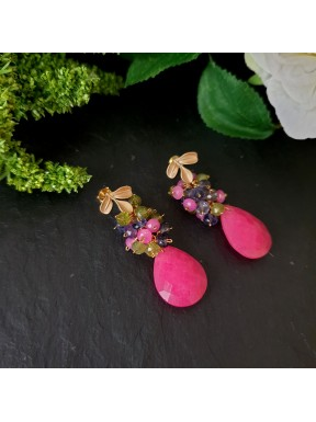 Pendiente de racimo con jade rosa, iolita y vesubianita