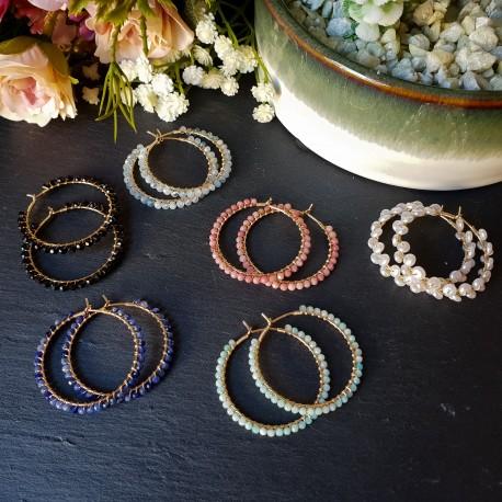 Pendientes de aro con gemas
