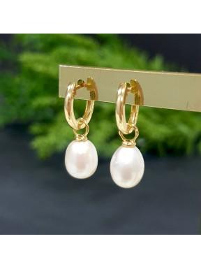 Pendientes de aro con charm de perla
