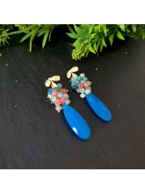 Pendientes deracimo con cuarzo azul caribbean con jade multicolor