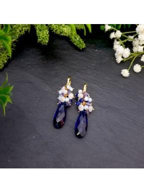 Colgante de racimo de cuarzo azul con lapislázuli, piedraluna, ópalo azul y tanzanita