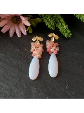 Pendiente de racimo con cuarzo rosa opal y jade en tonos rosa