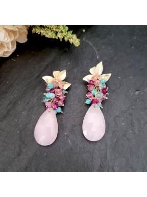 Pendientes de racimo con jade, topacio rosa, amazonita y apatito