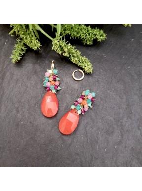Colgante de racimo en jade naranja y multicolor