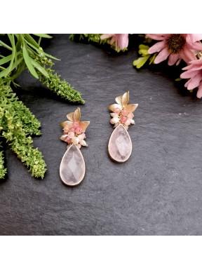 Pendientes de racimo cuarzo rosa, jade rosa y perlas de rio
