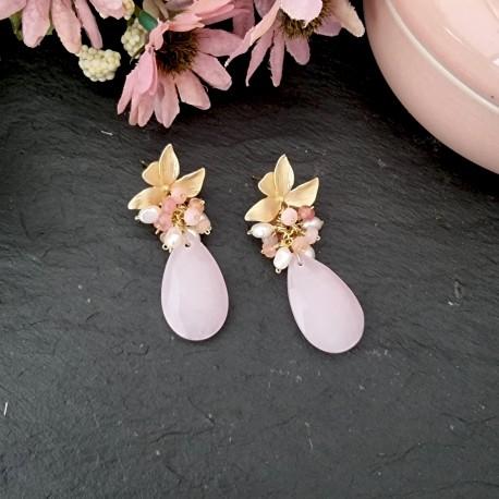 Pendientes de medio racimo con jade rosa y perlas