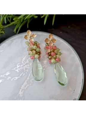 Pendientes de racimo con hidro cuarzo, circonia y jade