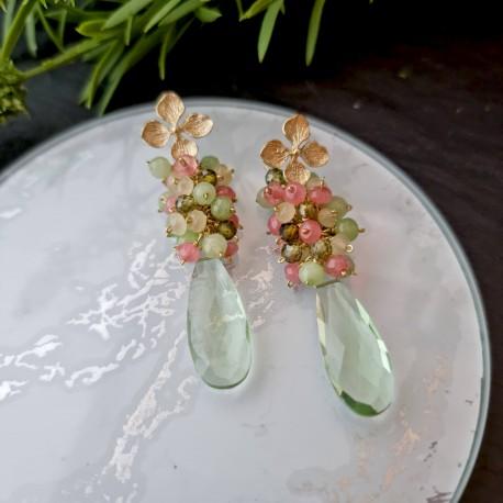Pendientes de racimo con hidro cuarzo, kyanita y jade