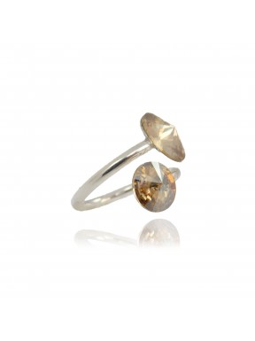 Anillo de plata y Swarovski Crystal Golden Shadow