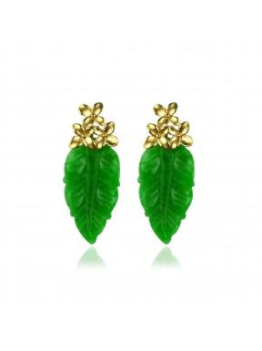 Pendiente 3 Flores y hoja de Jade Verde